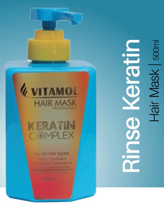 ماسک مو پمپی ویتامول با آبکشی حاوی کراتین حجم 500 میل